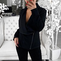Fashion women's Loose Oblique Zip Long Sleeve Coat