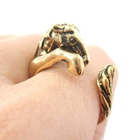 Detailed Horse Pony Animal Wrap Around Ring in Shiny Gold   US Size 4 to 9