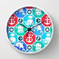 Marine Animals Geometric Pattern Wall Clock by chobopop