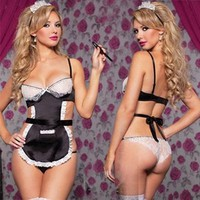 Wo Sexy Lingerie Backless Princess Costumes Maid Costume Cosplay Sleepwear Set Babydoll Ladies Uniform Temptation Perspective S6530