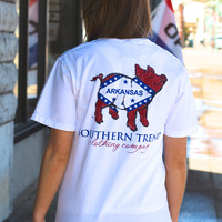 Proud Pig Arkansas Flag Tee by SOUTHERN TREND {White}