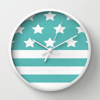 'Merica Turquoise  Wall Clock by Liv B
