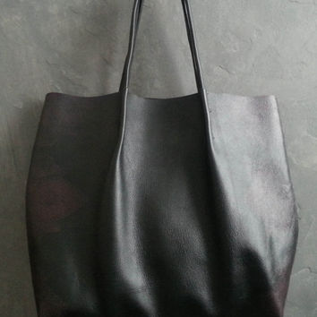 Large Black Leather Shopper Tote, from