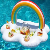 Rainbow Cloud Drink Cup Holder Beach Party Cooler Inflatable Ice Bucket Table Coasters Swim Pool Floats Beverage Water Fun Toys