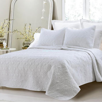 Oversized-3PC Quilted Coverlet Set- White