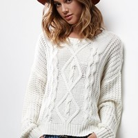 Honey Punch Milk Chunky Cable Knit Sweater - Womens Sweater - Cream