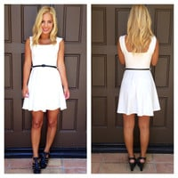 Little White Lie Flair Dress With Belt - WHITE