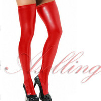 Women Synthetic Leather Skinny Over Knee Socks Thigh-High Hose Club Stockings Cosplay S420