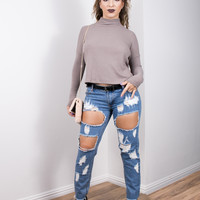 Taupe Turtleneck Croptop