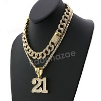 Hip Hop Quavo 21 SAVAGE Miami Cuban Choker Tennis Chain Necklace L21