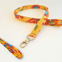 Floral Lanyard Set / Flower Keychain / Yellow Floral Print / Key Lanyard / ID Badge Holder / Flowers / Pretty Lanyard / Wrist Lanyard
