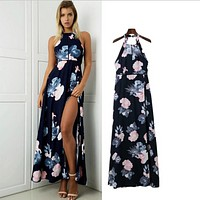 Sexy halter dress long summer dress new navy blue dress