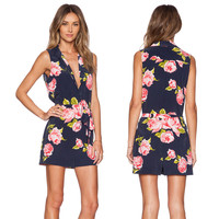 Floral Print Sleeveless Collared Romper