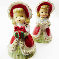 2 Vintage Lefton Christmas Holiday Figural Angel Bells Spaghetti Porcelain Figurines Red Green Gowns Japan Holding Gift Singing Sheet Music