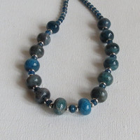 Sweet Teal Blue Apatite Necklace with Apatite Rondelles and Sterling Silver, Statteam