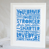 You are Braver than You Believe, Pooh, Teenage Room Decor, Wall Art, Etsy Posters and Prints