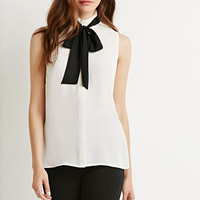 Pleated Bow-Front Blouse