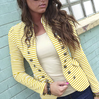 Mustard Striped Blazer | The Rage