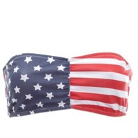 Blue Stars & Stripes Ruched Bandeau Bra by Charlotte Russe