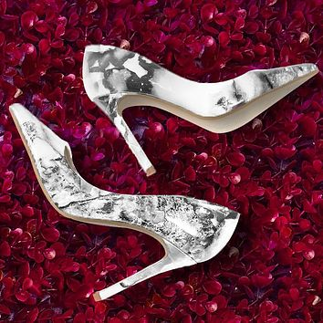 Fashion pointed marbled stiletto high heels women's shoes white