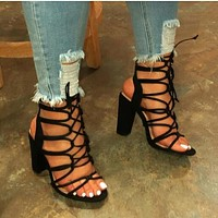 New ladies personality hollow sexy high heels