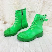 CR Bitten Neon Green Spiked Toe Punk Combat Ankle Boots Size 6-11