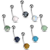 """Set of 8 Belly Navel Rings 14g 3/8"""" including Semi-Precious Stones & Opalized Glass"""