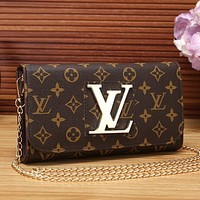 Louis Vuitton LV Women Shopping Leather Metal Chain Crossbody Satchel Shoulder Bag