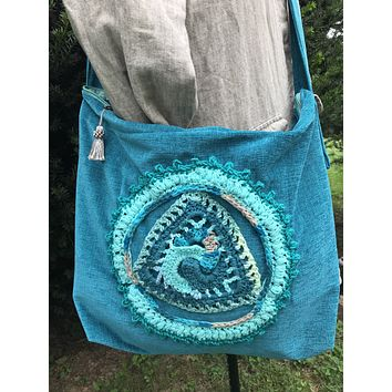 Large Tote Bag Weekender Teal Blue Crochet Accent