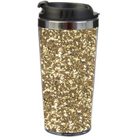 Slant Collections- 16 oz. Stainless Steel Travel Tumbler- Gold Glitter