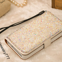 Luxury Diamond Bling Pu Leather Wallet Purse Flip Case Cover For Apple iPhone 4S 4GS Fashion Cell Phone Wallet Case For iPhone 4
