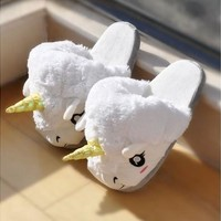 Hot Sale Fashion Lovely High Quality Fantasy White Unicorn Plush Cotton Slippers Slip On Adult Size Creative (Color: White) [8322973185]