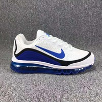 Tagre™ Nike Air Max Trending Men Casual Sport Running Sneakers Shoes Shock Absorption Shoes White(Blue Hook) I-CSXY