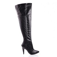 Grove By Delicious, Raceway Quilted Design Over Knee Stiletto Boots