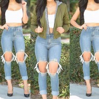 Ripped Holes Slim Jeans [6048136769]
