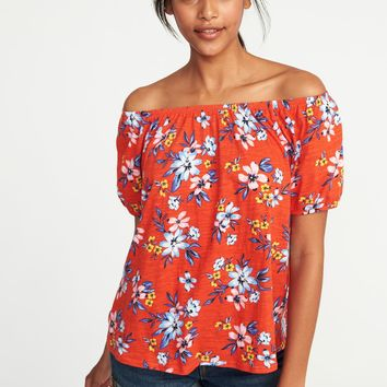 Relaxed Bubble-Sleeve Top for Women |old-navy