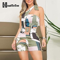 One Shoulder Knotted Detail Abstract Print Rompers Women Jumpsuit Summer Sexy Ladies One Piece Overalls Playsuits