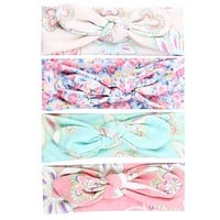 Baby Girl Hair Bow Headband Flowers Print Floral Hairband Turban Knot Head wear For born Toddler Hair Accessories