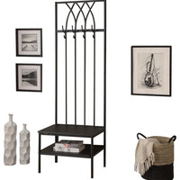 Monarch Specialties 4540 Entry Bench in Black Hammered Metal - Traditional - Hall Trees - by Beyond Stores