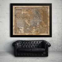 San Francisco: RESTORATION HARDWARE style San Francisco map print