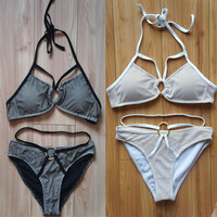 2015 New Arrival Metal Ring Swimwear women Halter Bikini set High Quality Removable Padded Swimsuit Double lined Bikinis
