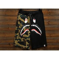 BAPE summer camouflage beach street casual stitching five pants F-A-KSFZ black