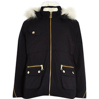 River Island Girls navy faux fur hooded parka