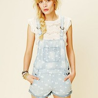 Free People Chambray Floral Overall