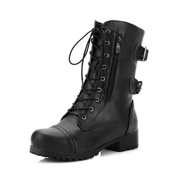 Lace Up Buckle Motorcycle Boots High Heels Women Shoes