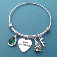 Personalized, Glass color, Initial, Garden gnome, Gardening, Silver, Bangle, Bracelet, Birthday, Best friends, Sister, Gift, Jewelry
