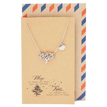 Marj Family Tree Necklace with Bird Charm Pendant and Greeting Card