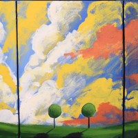 "ARTFINDER: triptych 3 panel wall art colorful images ""clouds of colour"" 3 panel canvas wall abstract canvas pop abstraction 27 x 12"" by Stuart Wright - The original paintings for sale ""Clouds of Colo..."