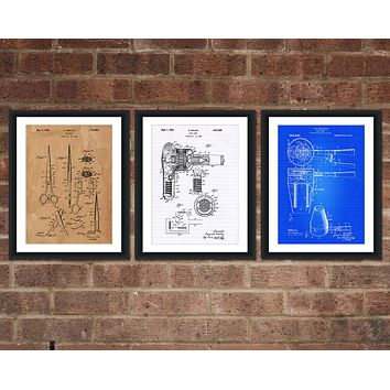 Hair Care Inventions Patent Print Set - Cosmetology Patent Art - Patent Print - Patent Poster - Office Art - Office Posters