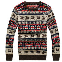 2016 men winter  casual o-neck pullover Christmas deer sweaters red & blue man knitted sweater male clothing lxy334